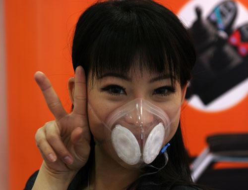 Thai translator trying Totobobo mask