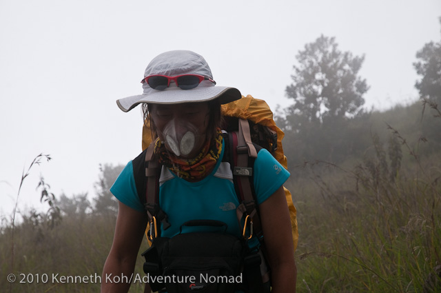 using Totobobo mask to cut volcano dust