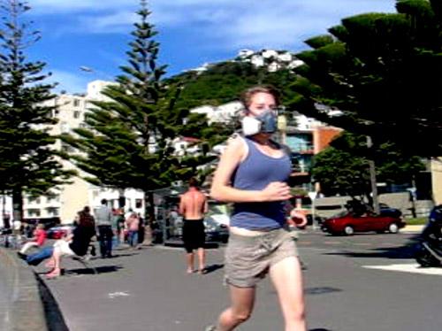 Erika Hansen testing running with a respirator