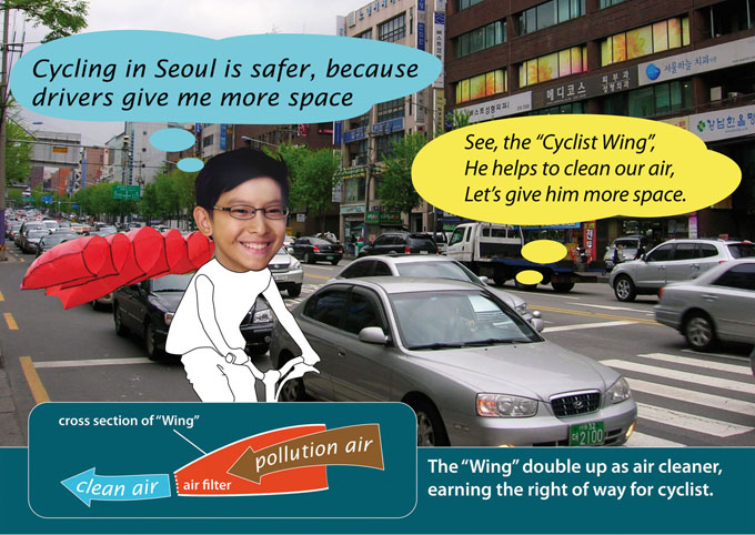 Riding in Seoul with a safety cyclist wing