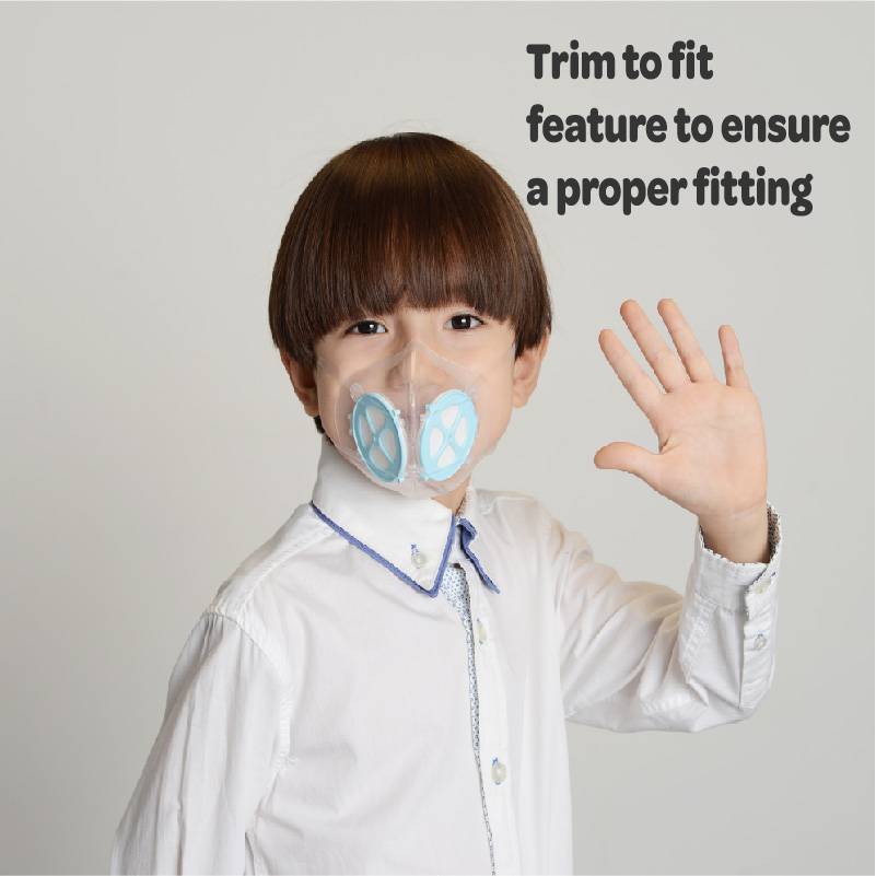 Trim to fit ensures a proper fitting for children mask.