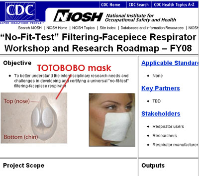 Totobobo mask was spotted in NIOSH NO-FIT-TEST workshop page