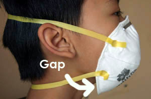 Adult N95 mask big gaps on child's face
