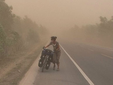 Moving forward in sand storm