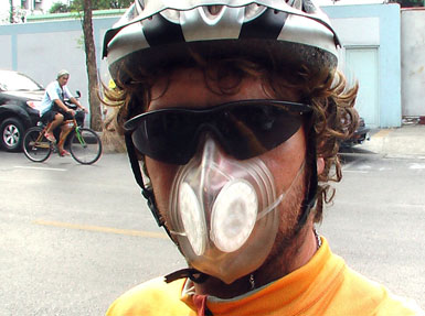 yclist wearing Totobobo mask in Bangkok
